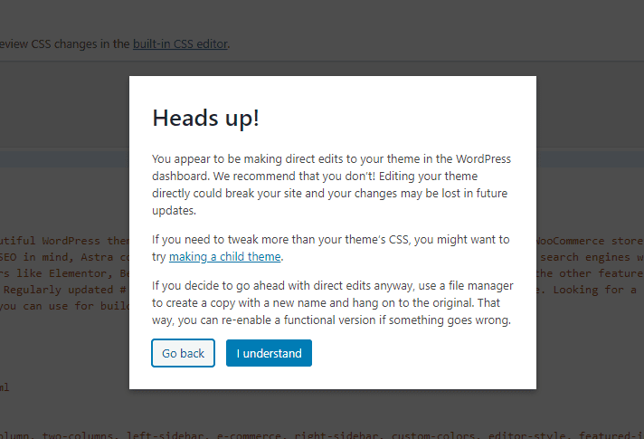heads up popup in theme editor
